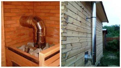 Вывод дымохода через стену в бане